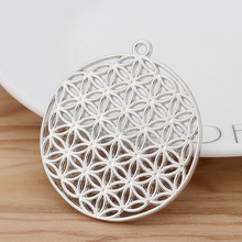 5 Pieces Large Flower of Life Round Charms Pendants 2 Sided for Necklace Jewellery