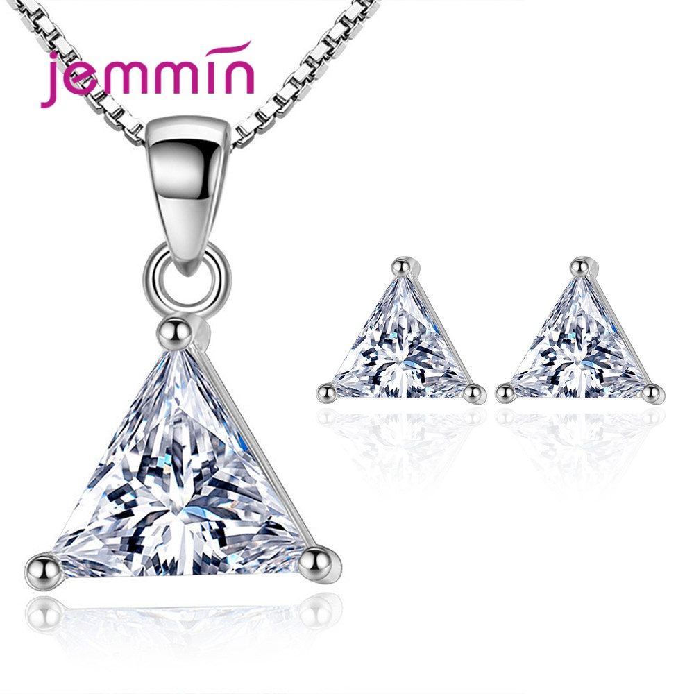 Trendy 925 Sterling Silver Set For Women Wedding Club Party Geometric Style Triangle Cubic Zircon Necklace Stud Earring Jewelry