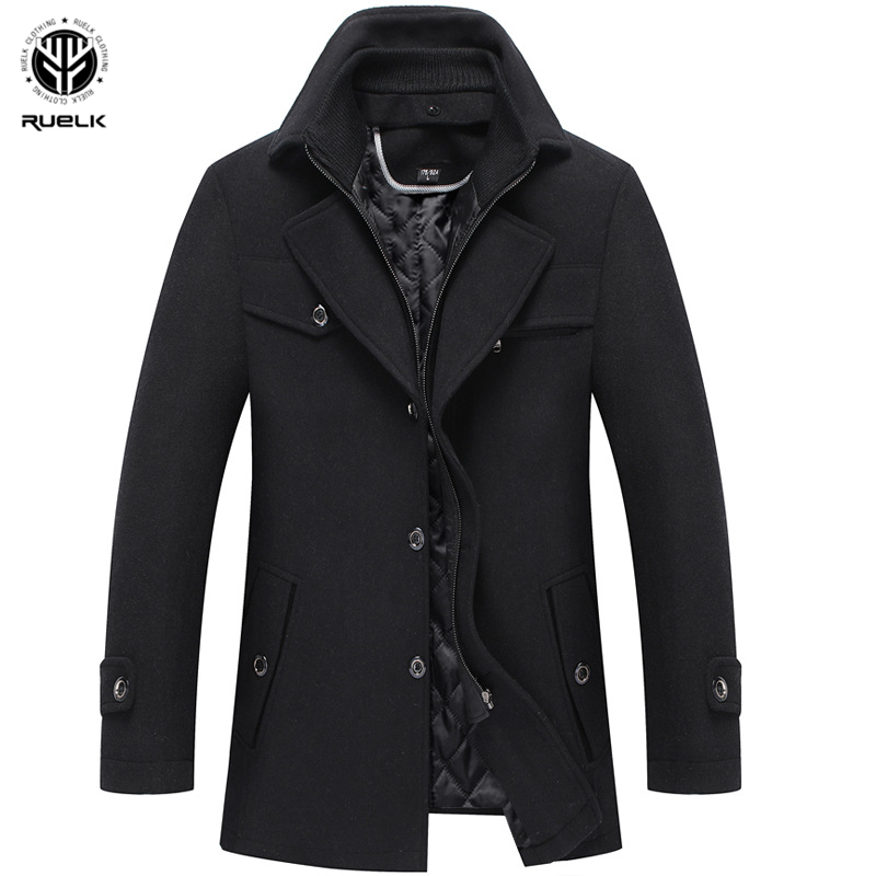 RUELK 2020 Autumn And Winter New Men's Woolen Wool Coat Fashion Classic Solid Color Double Collar Thickened Lapel Jacket Men Top