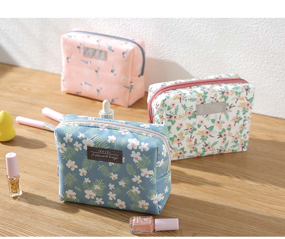Purse Makeup-Pouch Toiletry-Kit Cosmetic-Bag Travel-Organizer Sweet Portable Floral Mini