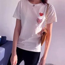 White short-sleeved t-shirts heart-shaped female round collar loose couple parent-child outfit and a half sleeve tshirt men