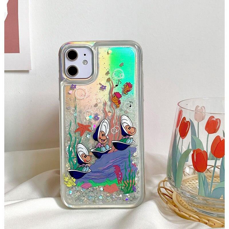 Flash powder liquid quicksand Senbei Oyster Phone Case For iPhone 11Promax 7 8 Plus XSMAX XR SE 2020 Soft TPU Love Heart Coque