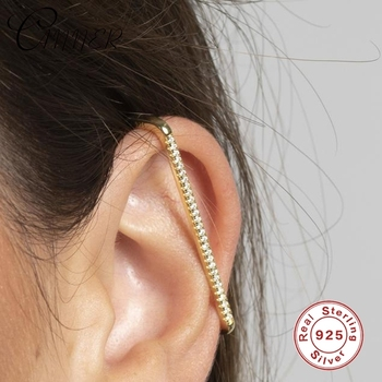 CANNER 1pc Single Row Geometric Real925 sterling silver Ear Cuff Earring for Women Clip on Earring No Piercing Earings Jewelry
