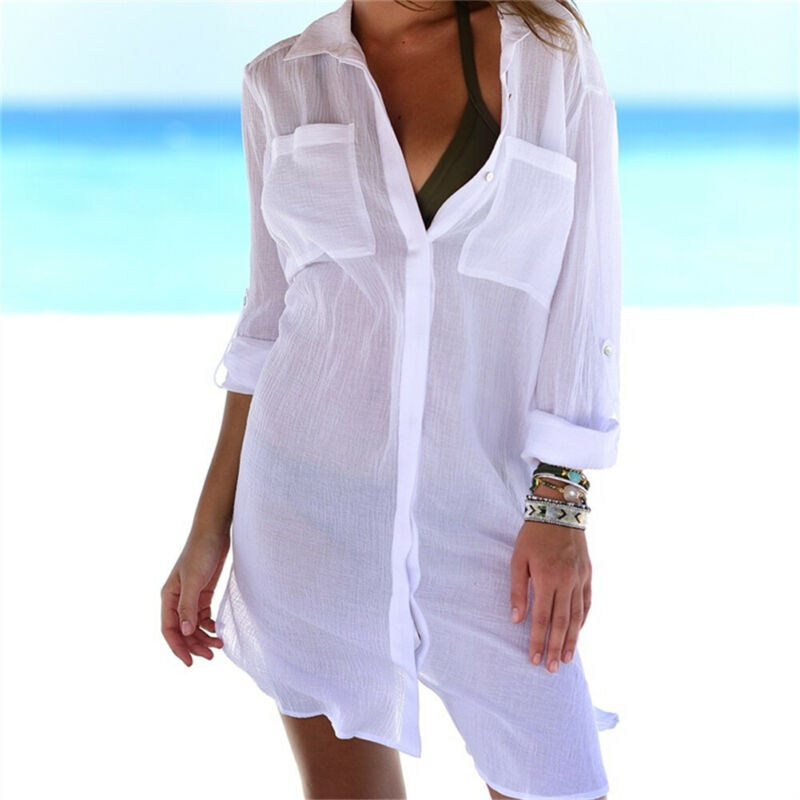 Новинка, брендовый женский бикини, накидка, купальный костюм, летние топы с карманом, одноцветная кнопка, прозрачные рубашки, платье, пляжная одежда