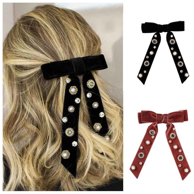 2020 Mode Perle Strass Haar Clip Für Frauen Mädchen Knoten Bogen Samt Haarnadel Kopfschmuck Einfarbig Damen Haar Zubehör