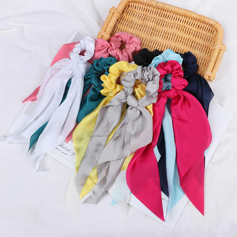 1PC Hot Sale Elastic Hair Bands Solid Color Scrunchie Bohemian Hairband Rubber Ropes Women Bow Streamers Scarf Hair Ties