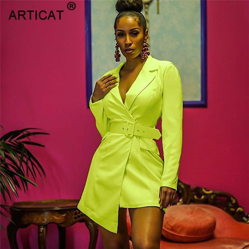 Articat Neon Green Notched Mini Blazer Dress Dress Fashion Long Sleeve Irregular Sashes Autumn Dress Solid Office Ladies Dress