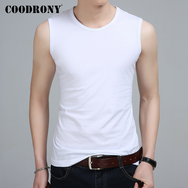 COODRONY Summer Tank Top Men O-neck Sleeveless T Shirt Men Pure Color Casual T-Shirt Men Cotton Bottoming Tee Shirt Homme C5023S