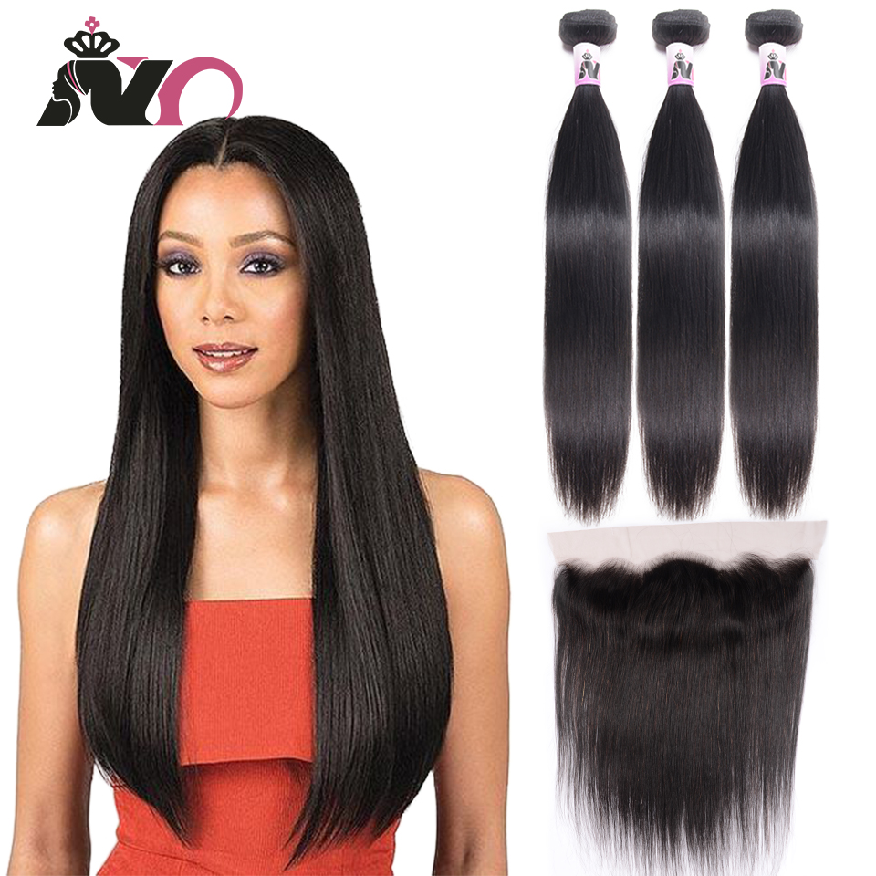 NY Straight Hair Bundles With Frontal Non-Remy Peruvian Hair 3 Bundles With 13*4 Lace Closure Human Natural Color Hair