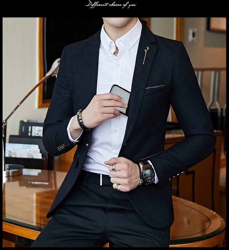 H40c490ba8d1f450f8eea71ac78c23c066 - Striped Blazer Mens Slim Fit Blazer Slim Masculino Business Casual Mens Stylish Blazer Spring Autumn Dot  Striped Blazers Mens