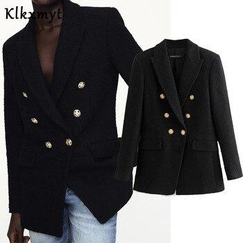 Klkxmyt Za Blazer Women 2020 Fashion Metal Double Breasted Woollen Blazers Coat Vintage Long Sleeve Female Outerwear Chic Tops 1