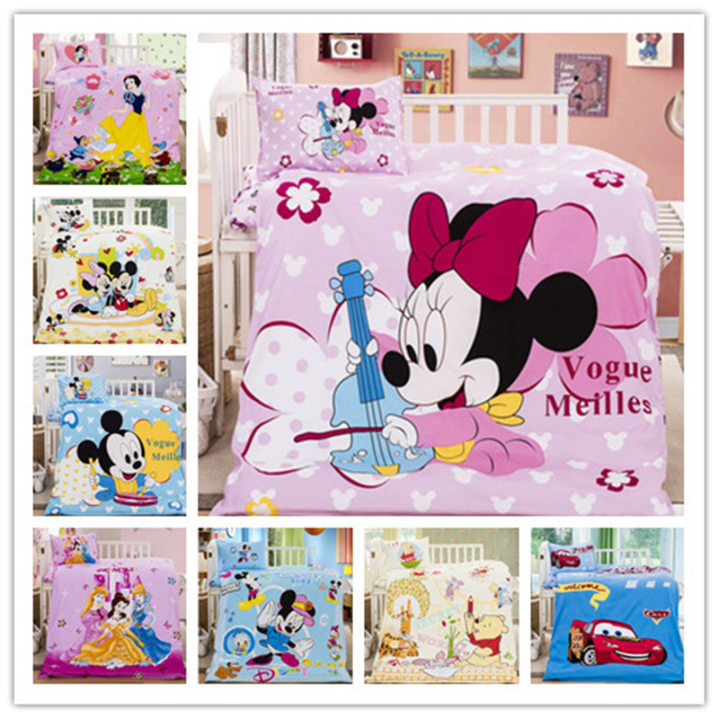 Disney 3PCS Baby Cot 100% Cotton Bedding Sets Pink Minnie Mickey Mouse Princess Pooh Cartoon Quilt Cover Girls Children 60x120cm