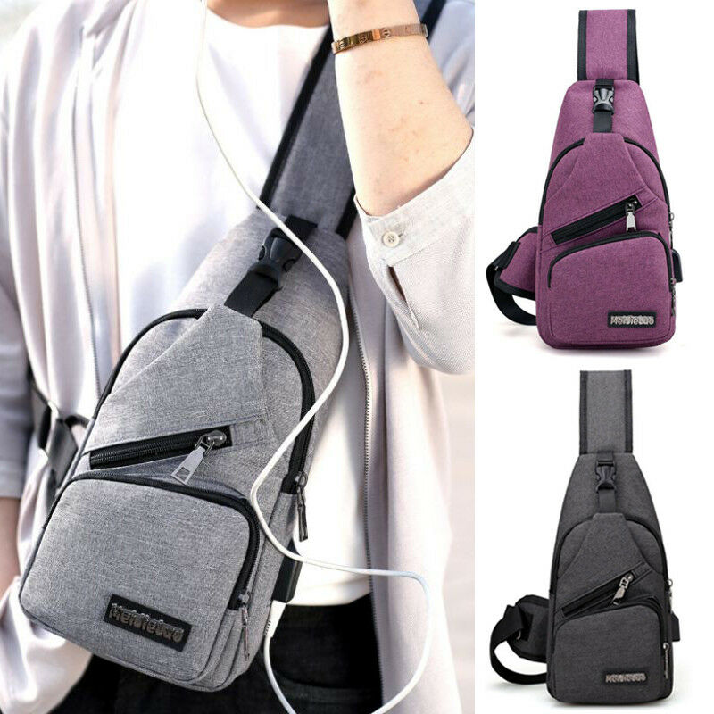 Men USB Charger Port Anti-theft Chest Pack Backpack Rucksack Shoulder Sling Bag Chest Bag