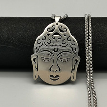 Religious Stainless Steel Necklace Classic Buddha Pendant Men's and Women's Prayer Jewelry Fashion Sweater Chain Long Necklace