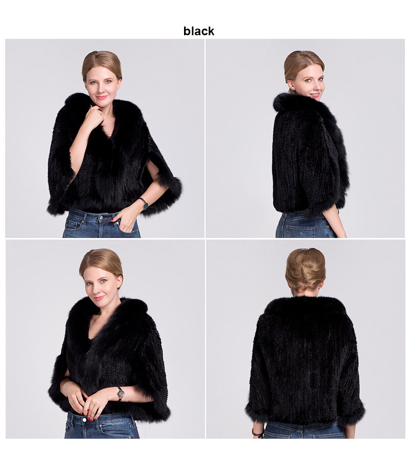 knit mink fur poncho fox collar (black)