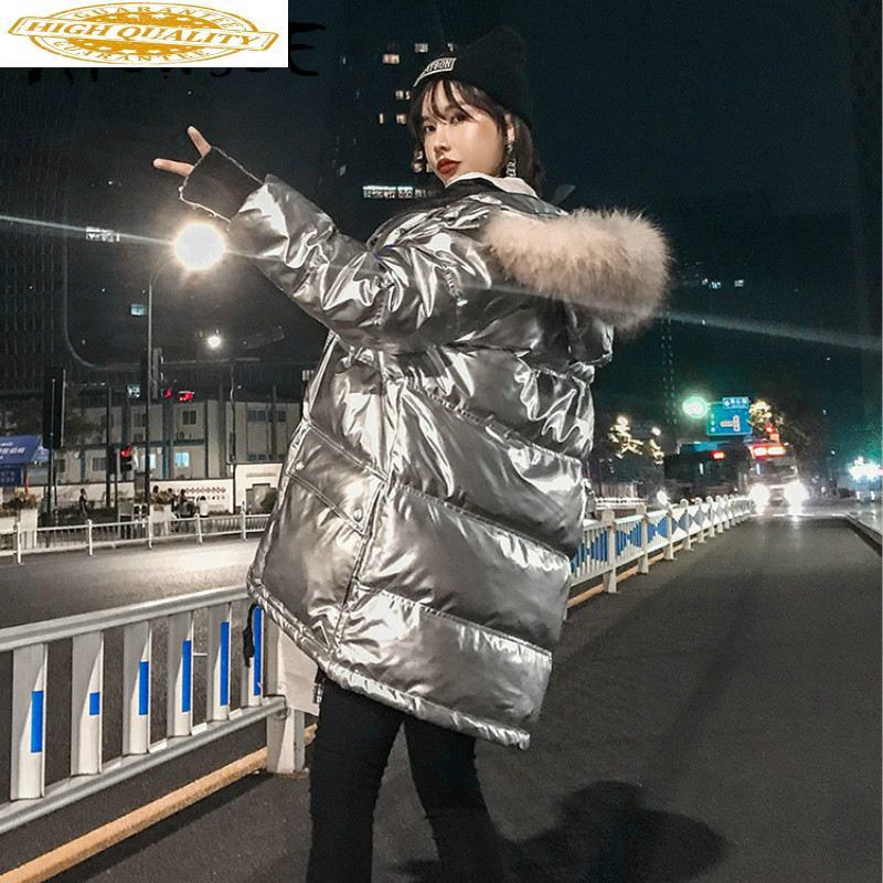 Winter Coat Women White Duck Down Jacket Women Puffer Jacket Warm Parka Big Fur Collar Down Coat KHLM1901-1 YY1430
