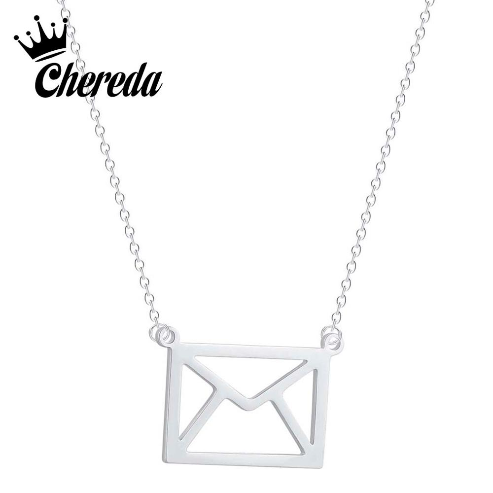 Chereda Hollow Dainty Envelope Necklace for Women Statement Long Chain Pendant Bridesmaid Wedding Engagement Jewelry