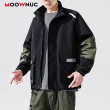 Outerwear New Jackets Loose Hip Hop Patchwork Hat Men's Clothes Hombre Spring Coats Dress Boys Kpop Fashion Casual MOOWNUC MWC