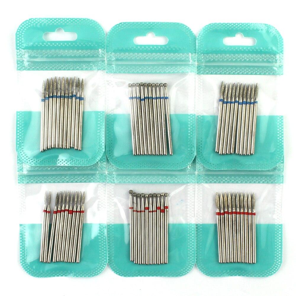 10 sztuk diament frez zestaw wierteł do paznokci akcesoria do Manicure Pedicure Eletric maszyna końcówka do paznokci szczotka Burr narzędzia