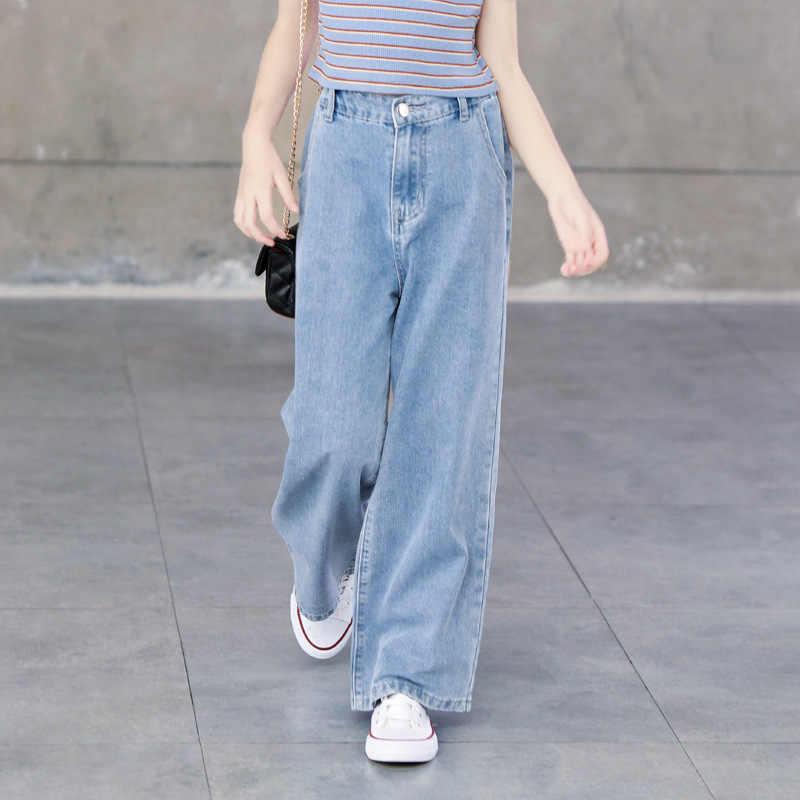 Pantalones Vaqueros Para Chicas Adolescentes Pantalon Ancho A La Moda Informal Azul Holgado Para Primavera Y Verano 6 8 10 12 Anos 2020 Pantalones Vaqueros Aliexpress