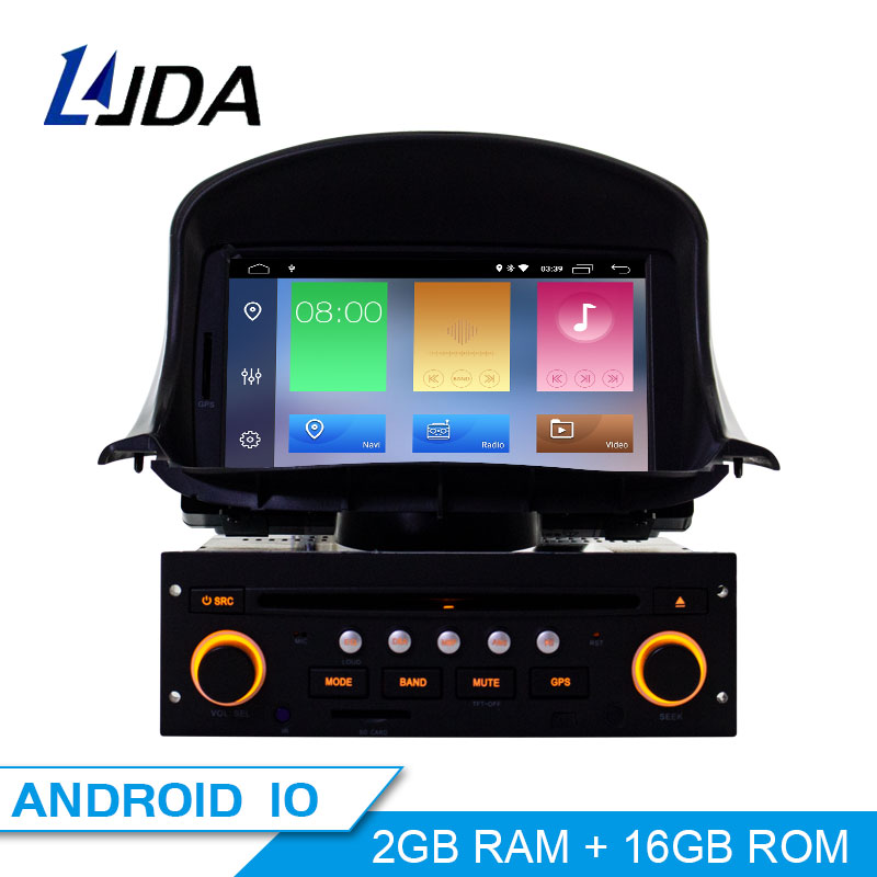 LJDA 1 din 7 Inch Android 10.0 Car DVD Player For <font><b>Peugeot</b></font> <font><b>206</b></font> 206CC Auto Radio Audio Bluetooth Canbus GPS Navigation Quad Cores image