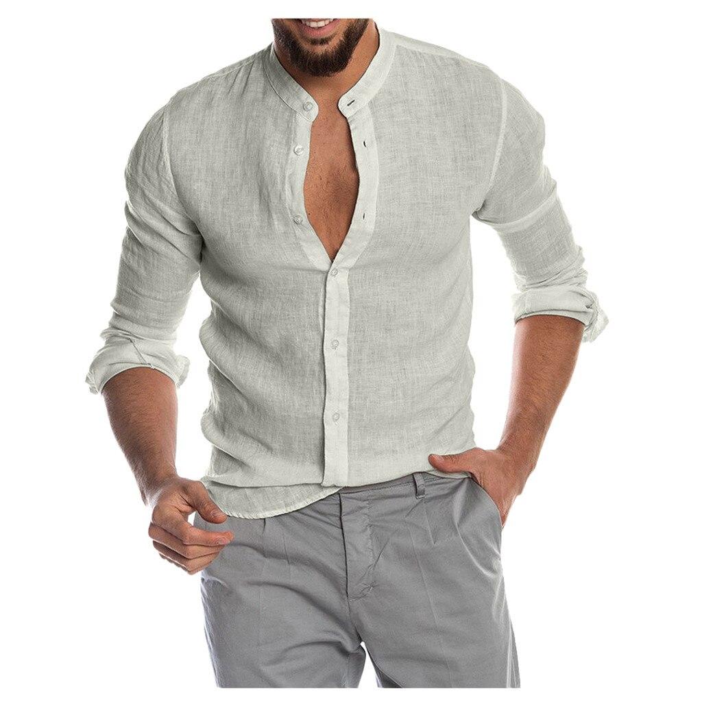 2020 New Men's Casual Blouse Cotton Linen Shirt Loose Tops Long Sleeve Tee Shirt Spring Summer Casual Handsome Men Shirts #3