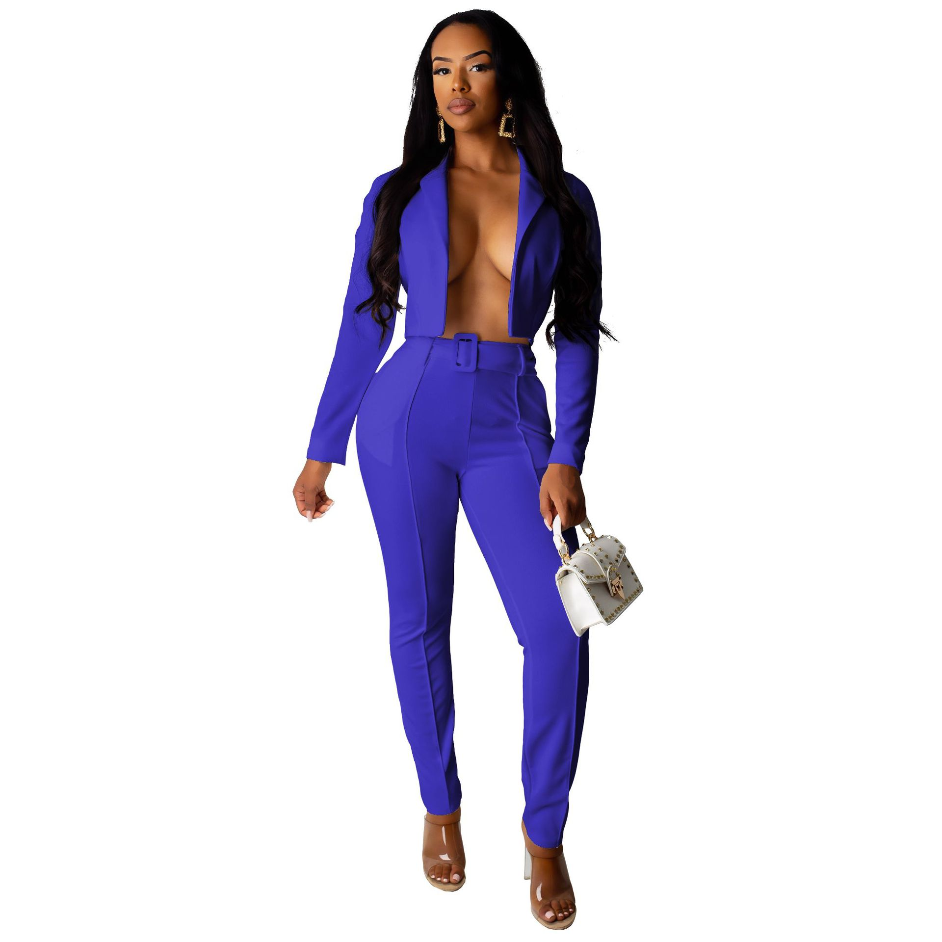 Women Sexy Notched Long Sleeve Elegant Office Lady Blazer And Trousers Pant Suits Matching Set Outfits F21