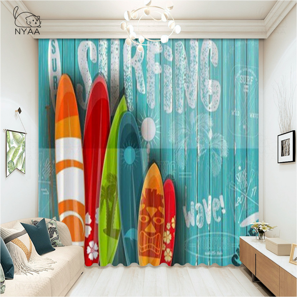 Vintage Hawaii Kitchen Curtains Wooden Surfboards With Summer Ocean And Swimming Flower Ultra Thin Micro Shading Window Curtain Curtains Aliexpress
