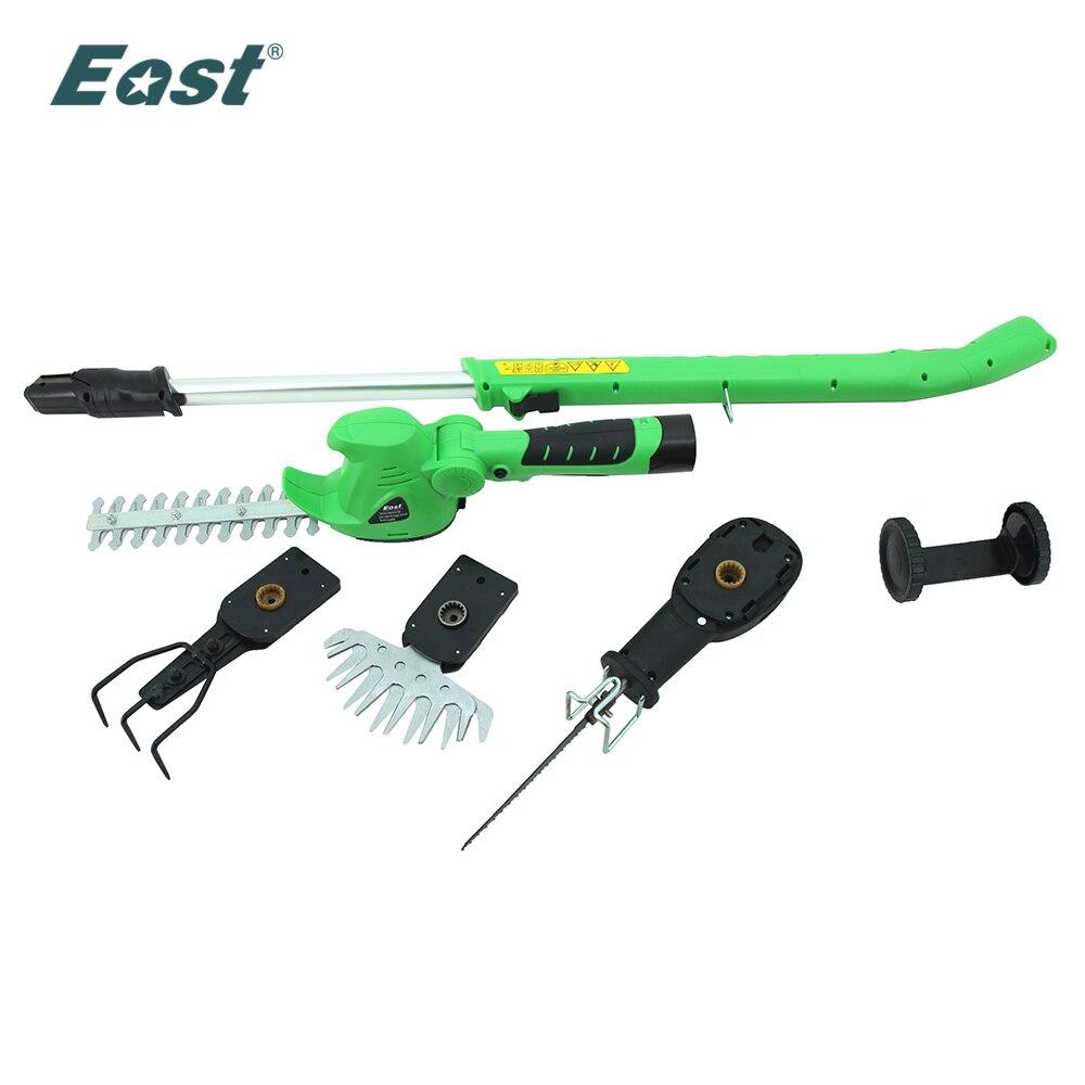 Leste jardim ferramenta elétrica 10.8 v li-ion sem fio hedge trimmer grama mini cultivador ferramentas faca de alimentação et1007 4in1