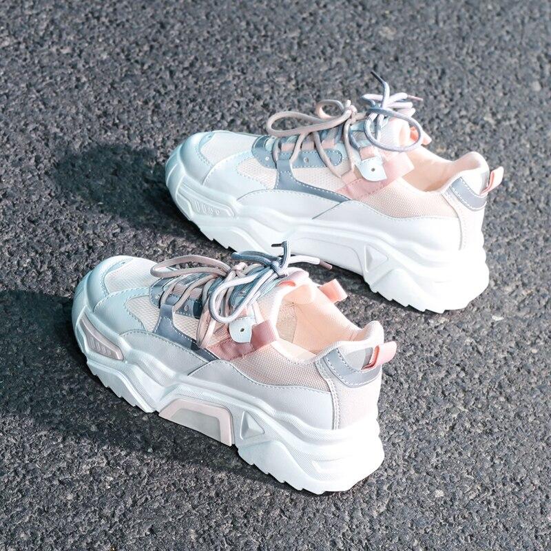 Женские кроссовки на массивном каблуке; Модная женская обувь на платформе; Дышащая обувь на шнуровке с вулканизированной подошвой; Женские кроссовки; Обувь для папы; 2020|Кроссовки и кеды|   | АлиЭкспресс
