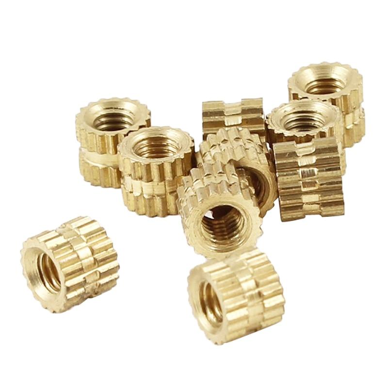 M2 X 3mm Brass Cylinder Knurled Threaded Round Insert Embedded Nuts 100pcs