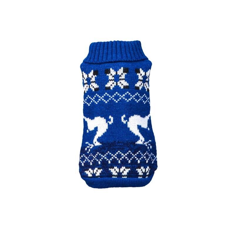 Рождественская Милая Одежда для собак с лосем, вязаный свитер, теплая дышащая одежда для собак, толстый зимний свитер для собак, Свитера с оленем - Цвет: Blue