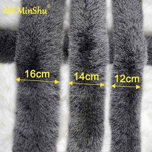 Image 2 - Ms.MinShu Fox Fur Collar For Hood Natural Fox Fur Hood Trim Scarf Big Fur Collar 100% Real Fox Fur Collar Trim Custom Made