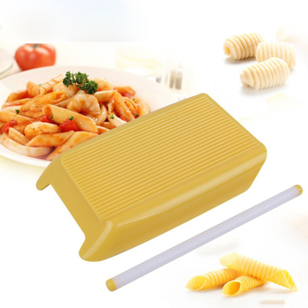 Pasta Macaroni Board Plastic Spaghetti Macaroni Pasta Gnocchi Maker Rolling Pin Kitchen Pasta Tool Baby Food Supplement Molds image