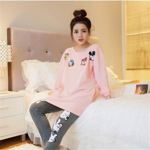 Image 2 - Caiyier Autumn Spring Women Pajamas Set O Neck Cartoon Mickey Long Sleeve Sleepwear Leisure Thin Soft Nightgown Home Clothing