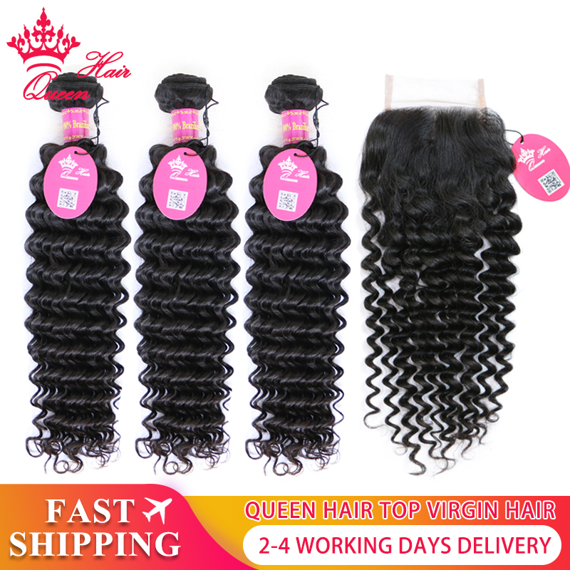 Queen Hair Products Brazilian Deep Wave Human Hair Bundles With Lace Closure HD Transparent Lace Virgin Hair Natural Color