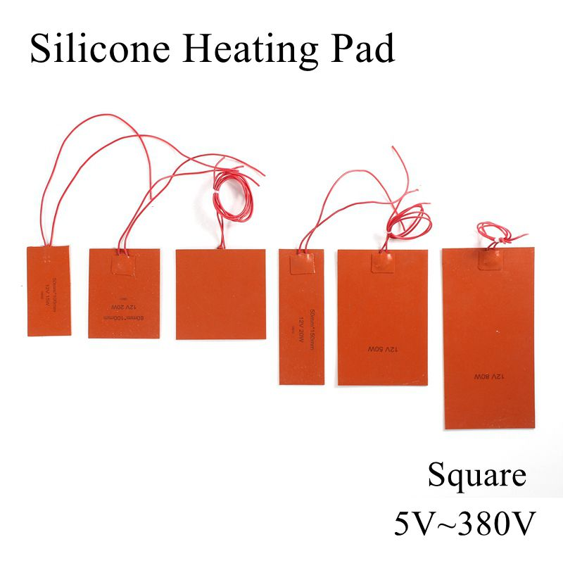 5V 12V 24V 36V 48V 110V 220V 380V Silicone Heating Pad Square Rubber Heat Mat Heated Bed Plate Flexible Waterproof 3D Printer