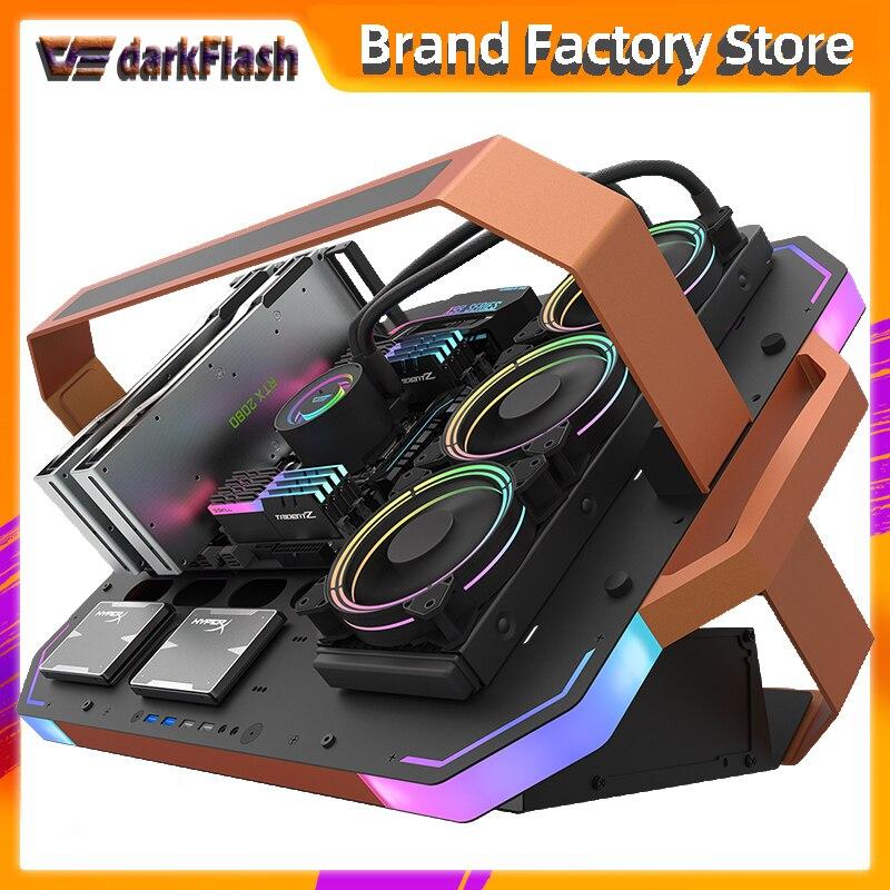Aigo darkflash bladex marco abierto de lujo para juegos de escritorio caja de la computadora gabinete pc gamer completo atx chasis ARGB iluminación pc funda