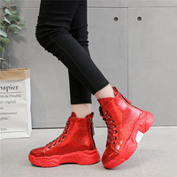 Black Red Silver Patent Leather Vulcanized Shoes women Keep Warm Winter sneakers High Top Shiny Platform shoes Chunky trainers