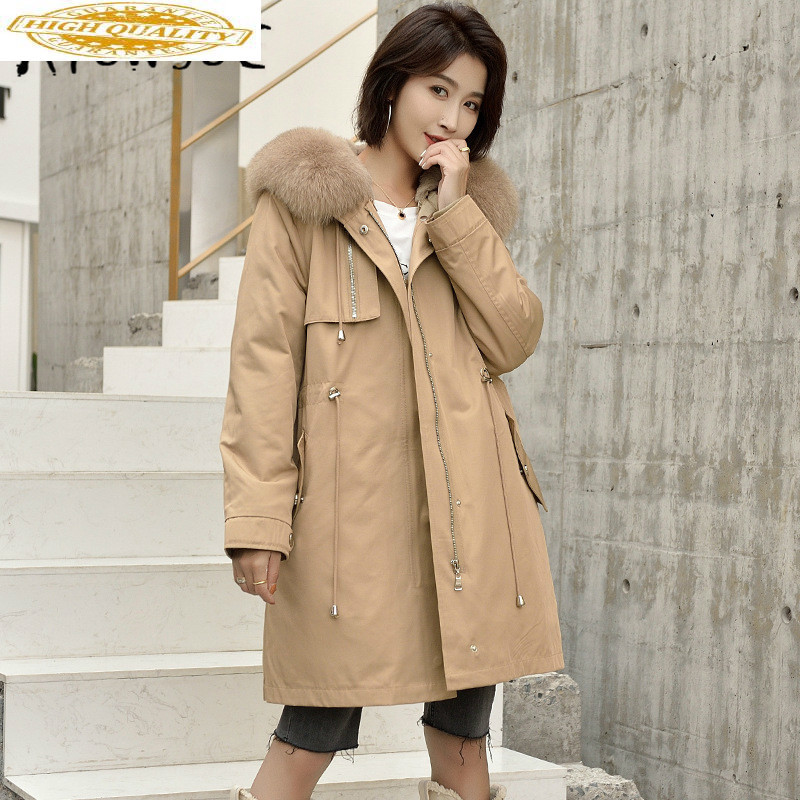 Real Fur Coat Winter Coat Women Clothes 2019 Korean Fox Fur Collar Rex Rabbit Fur Coat Women Hooded Warm Parka 9805 YY1872