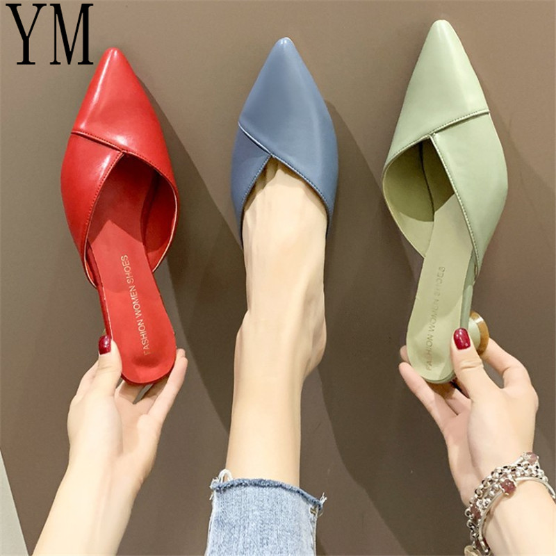 3Colour HOT Summer Sandalias Femeninas Low High Heels Pointed Toe Sandals Sexy Female Summer Shoes Mujer Zapatos Pumps 35-39