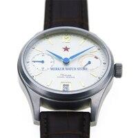 Reloj Mecánico de Estrella Roja 1963 para hombre  reloj piloto Flieger B-UHR  reloj de piloto de gran fecha con reserva de energía militar de 70 horas