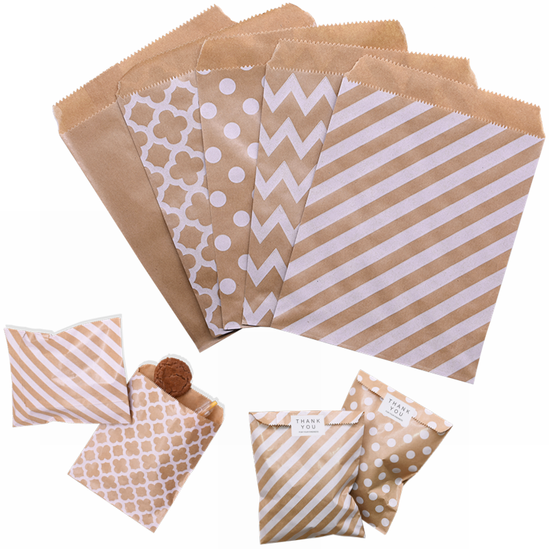 25/50pcs 18*13cm Kraft Paper Bags Wave Stripe Dot Gift Bag For Wedding Birthday Candy Snack Bag Festival Party Wrapping Supplies