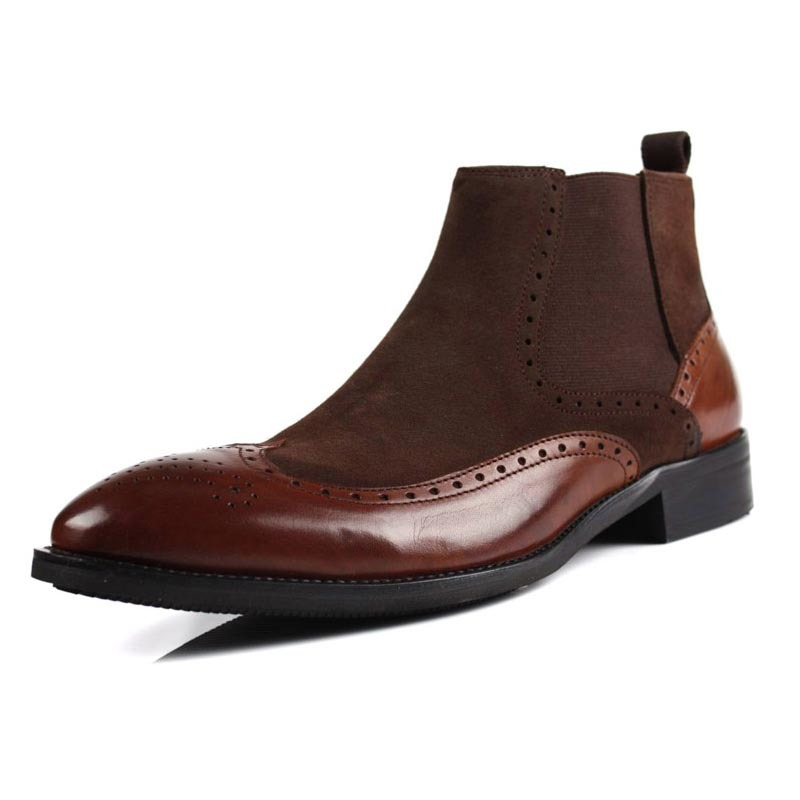 Italian Genuine Suede Leather Mens Chelsea Boots Retro Slip On Boots Winter Top Business Man Brogue Shoes Punk Footwear