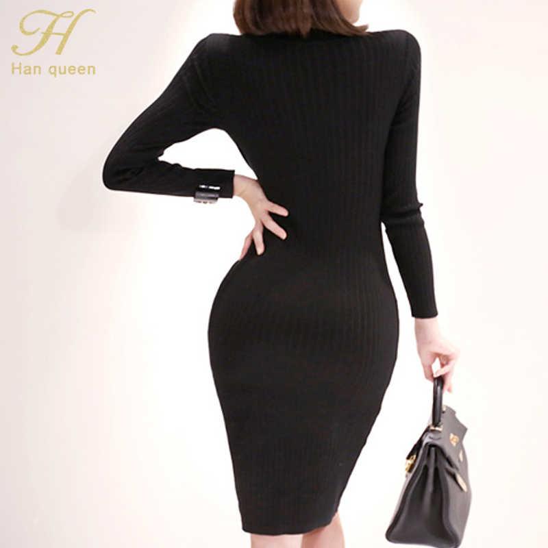 H Han queen однотонное Черное Трикотажное приталенное платье женское 2019 зимнее миди длинное облегающее Платье облегающее платье повседневное модное платье-карандаш Vestidos