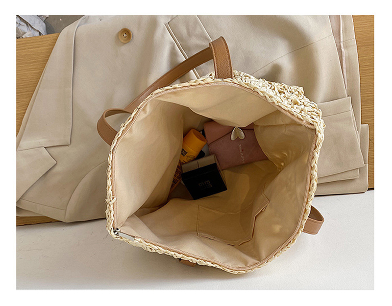 Patterned Straw Tote Bag for Leather Strap for Summer 2021