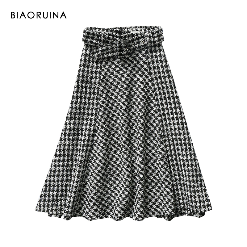 BIAORUINA Women's Swallow Gird Plaid High Waist Skirt With Belt Female Fashion A-line Streetwear Ladies Elegant Skirts