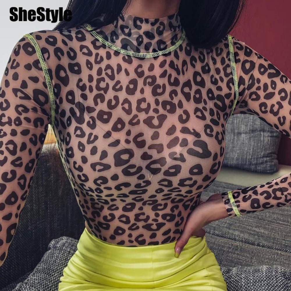 Shestyle Mesh Leopard See Through High Neck Long Sleeve Bodycon Sexy Summer Bodysuit Women Fashion Clubwear New Style Wholesale