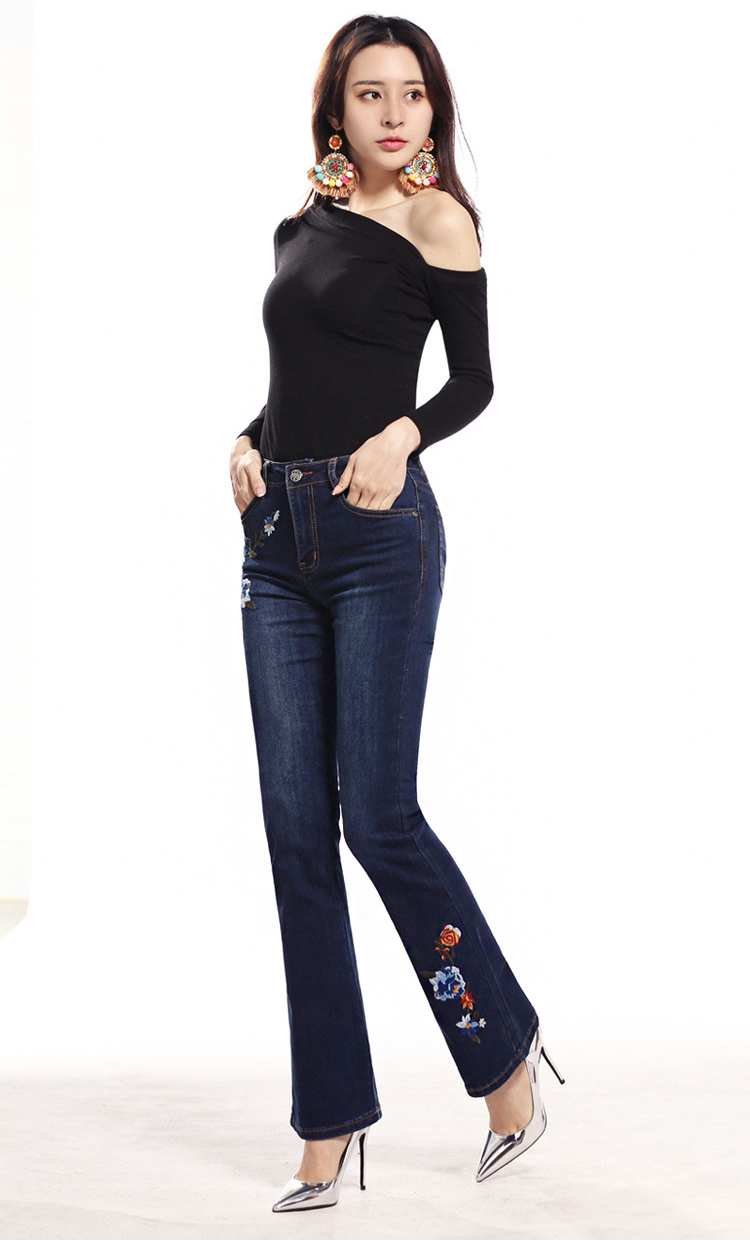 KSTUN FERZIGE Women Jeans High Waist Flare Pants Embroidered Florals Dark Blue Stretch Famous Brand Mom Jeans Trousers Femme Jeans 13