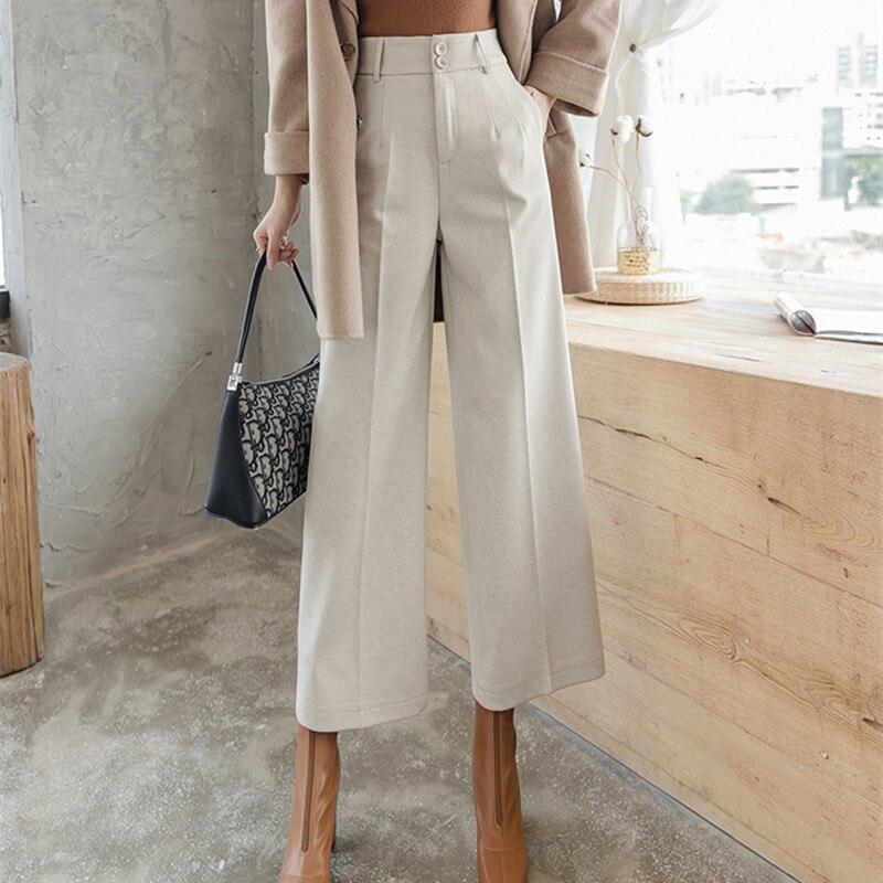 HziriP Winter Women Woolen Pants Office Ladies Bottoms Thick Wide Leg Pants 2020 New Autumn Spring High Waist Trousers Plus Size